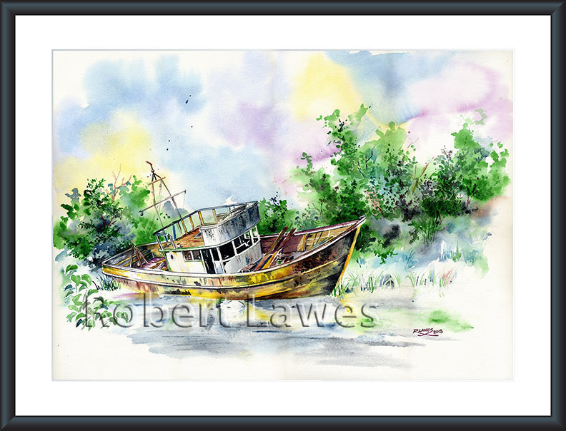 Abandoned Boat Watercolour