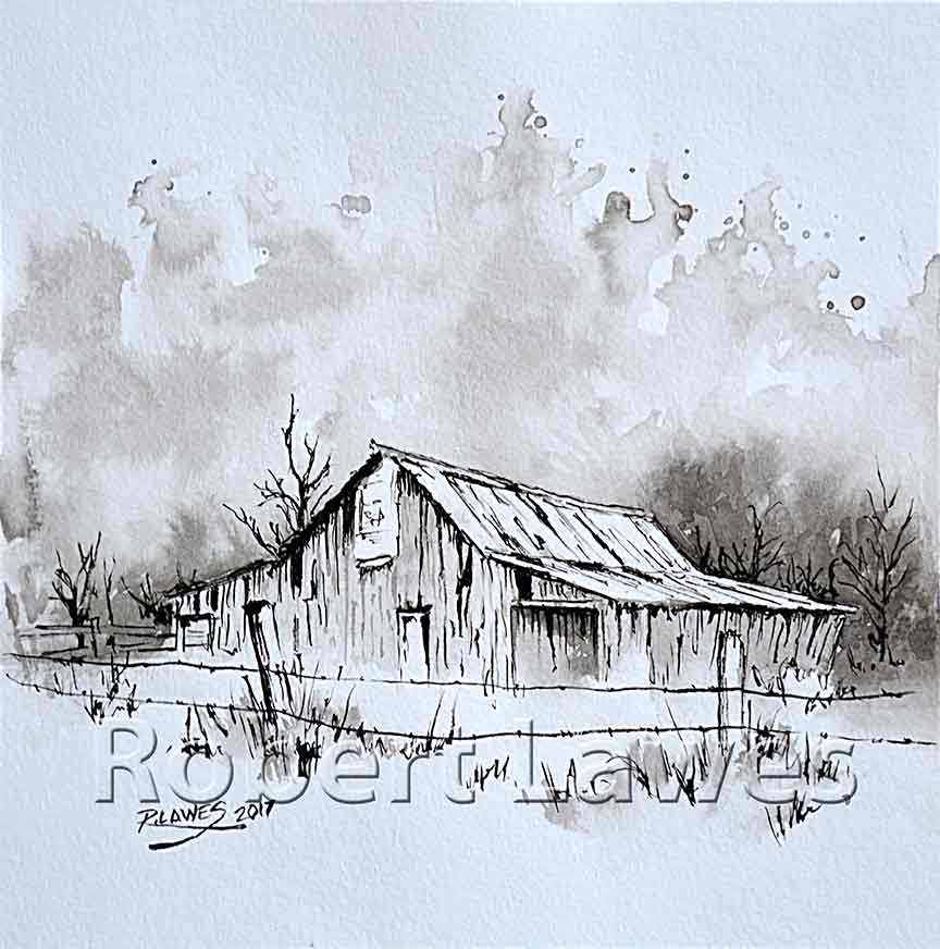 In The Sticks Pen and Ink with Ink Wash