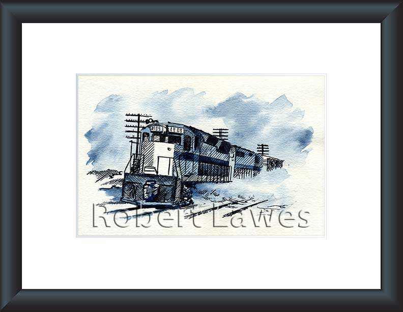 Locomotive in pen and Ink and Blue Inkwash
