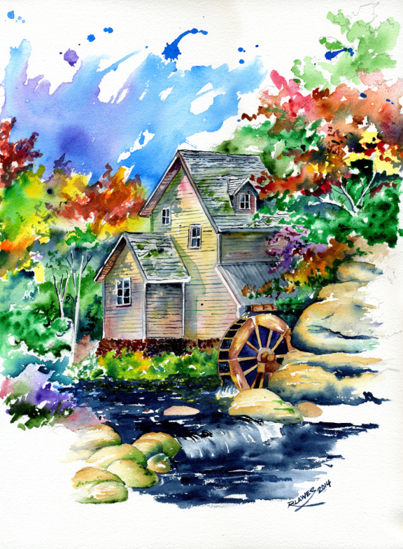 Watermill Painting