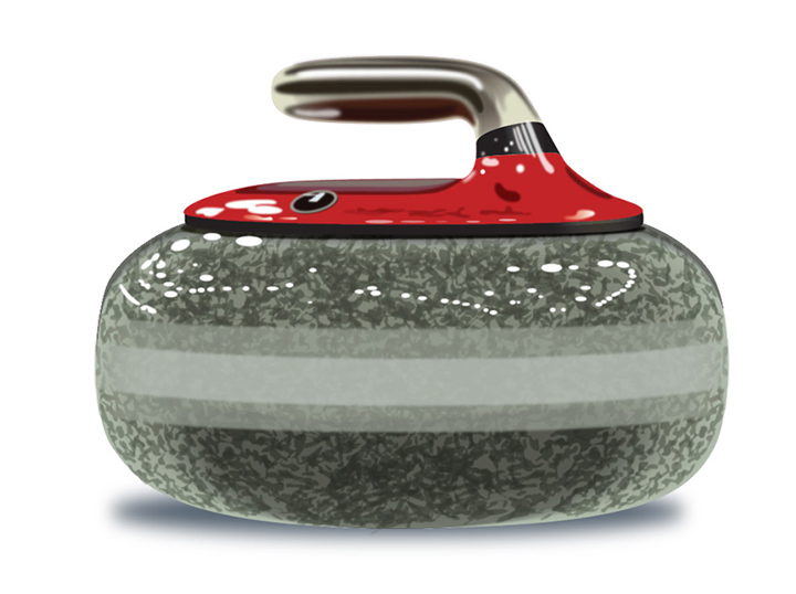 Curling Rock Adobe Illustrator Rendering